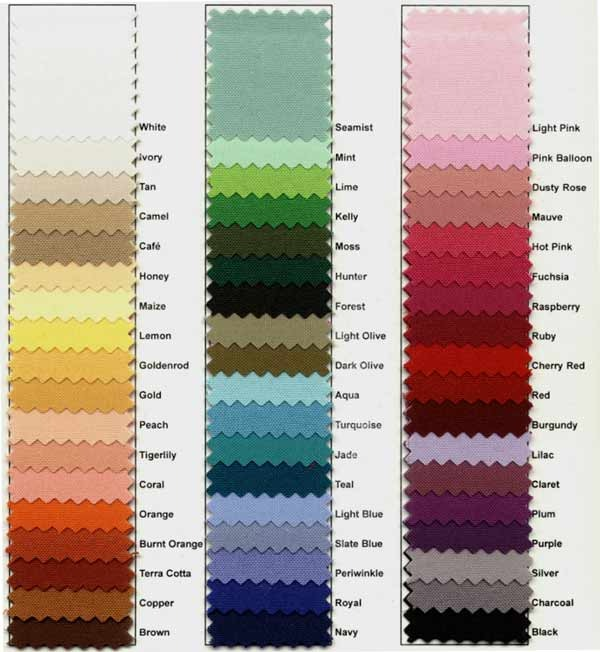 Color Chart Options This Is Media G Amp K Event Rentals