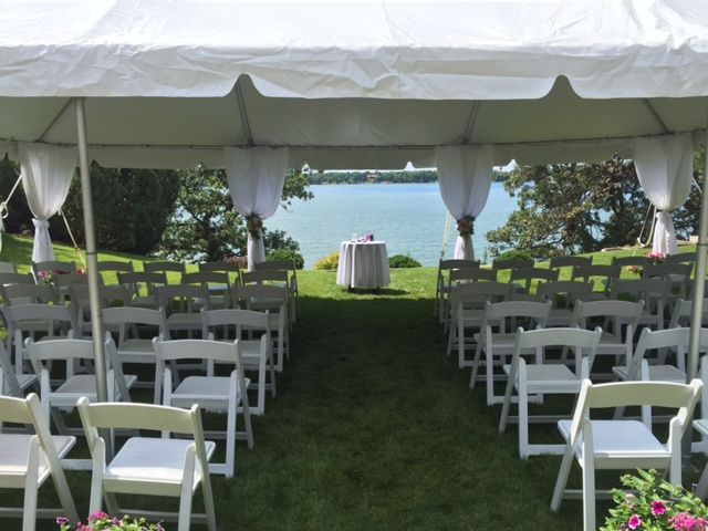 Frame tents are great for a wedding ceremony. This is a 20×30u2032 Frame Tent that overlooked Lake Washington for an intimate backyard ceremony. & Wedding Ceremony under a Tent - Rent Today! - G u0026 K Event Rentals
