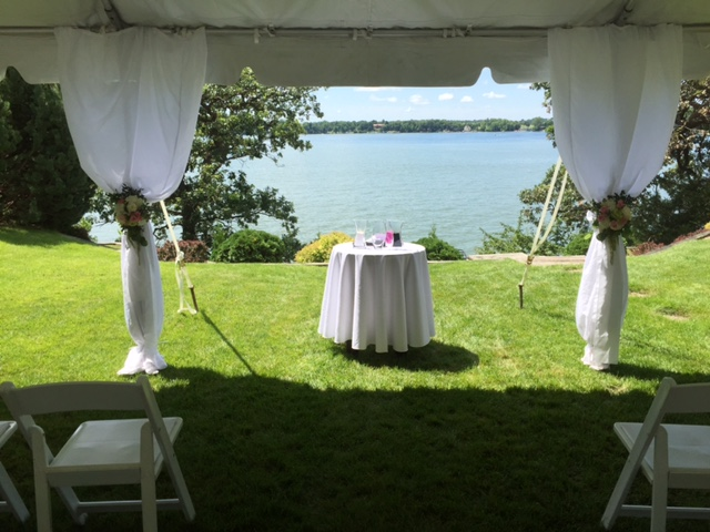 Frame tents are great for a wedding ceremony. This is a 20×30u2032 Frame Tent that overlooked Lake Washington for an intimate backyard ceremony. : ceremony tent - memphite.com